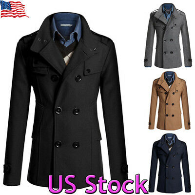 - Men Double Breasted Long Trench Coat Winter Warm Outwear Jacket Overcoat Peacoat