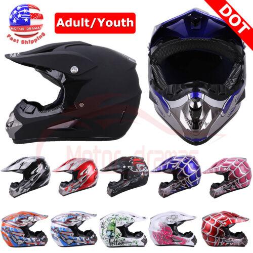 Motorcycle DOT Adult/Youth Dirt Bike ATV Motocross Helmet w/ Gloves Goggles Mask