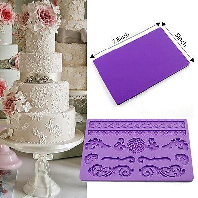 Silicone Decorating Lace Tool Fondant Cake Chocolate Mold Icing Border Bakeware