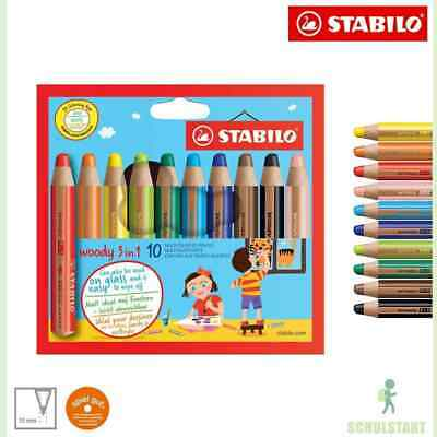 STABILO woody 10er Buntstifte 3-in-1 Multitalent Farbstift Wachsmalstifte 880/10