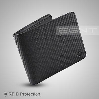 EGNT Carbon Bifold Wallet RFID LUXURY GENUINE LEATHER SLIM MENS CARD HOLDER NEW