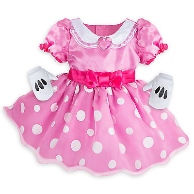Disney Store Minnie Mouse Baby Costume Dress w/ Gloves Size 3 6 12 18 24 - Infant Minnie Mouse Costume