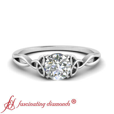 Half Carat Single Round Cut Diamond Celtic Love Knot Wedding Ring In White Gold