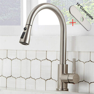 High Arc Kitchen Mixer Tap Single Handle Pull out Sprayer Faucet W/ Sink Cover
