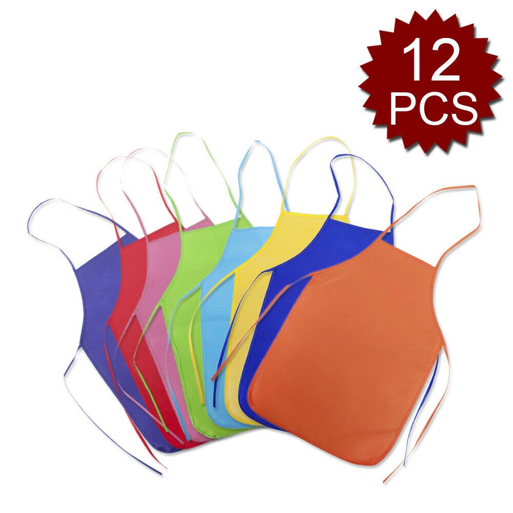 12x Lot Kids Painting Apron Pack Non Woven Multi Colors for