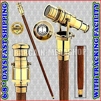 Brass Vintage Telescope Hidden Cane Folding Medieval Walking Stick a1v1