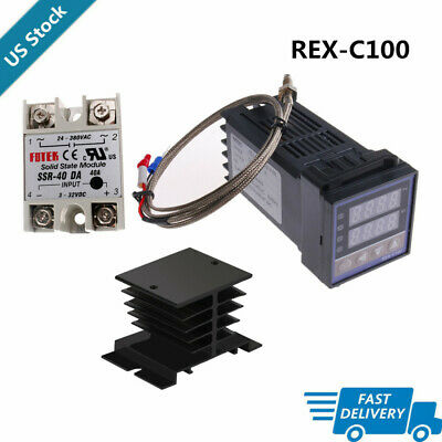 Pid Rex-c100 Temperature Controller Ssr 40da K Thermocouple Set