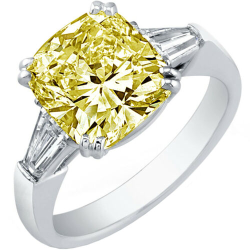GIA Certified 3.42 CT 3 Stone Fancy Yellow Cushion Diamond Engagement Platinum