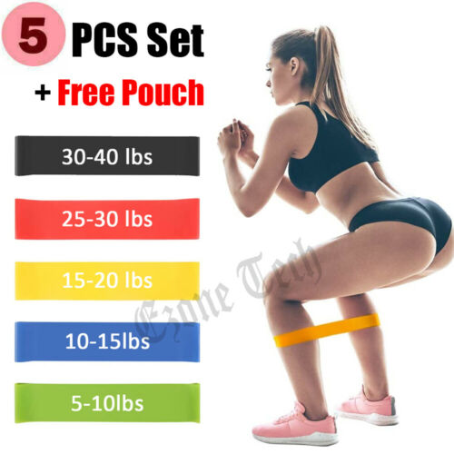 Resistance Bands Loop Set Strength Fitness Leg Exercise Yoga Workout Pull Up