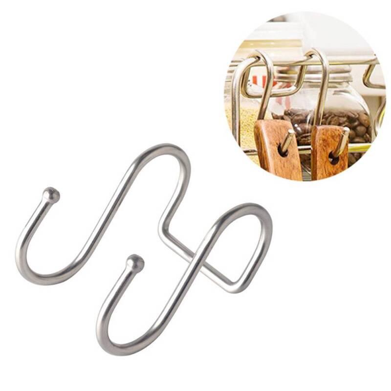 Edelstahl Aufhänger Rack Kleidung Küche Pot Pan Cup S Form Doppelhaken