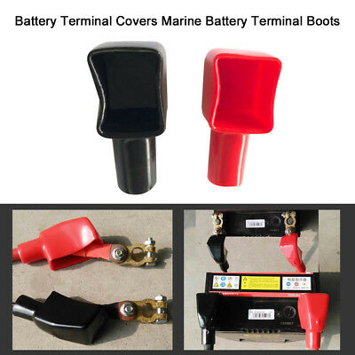 2Pcs Red & Black Car Battery Terminal Boots Insulating Protector Covers Z6I6
