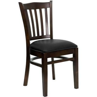 New Wood Walnut Restaurant Chairs W Black Vinyl Seat Lot Of 20 Chairs