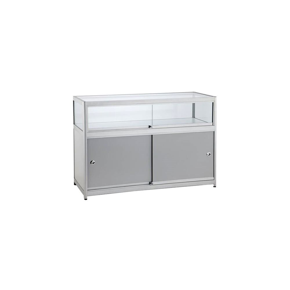 Shop counter display case with storage