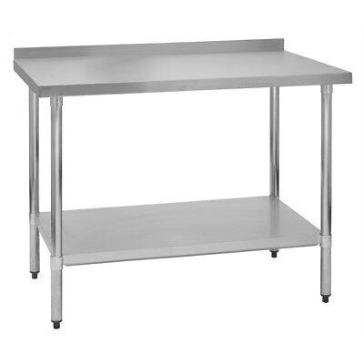 Stainless Steel Commercial Work Prep Table - 2 Backsplash - 24 X 24 G