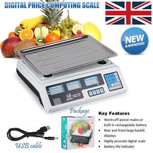 40kg DIGITAL PRICE COMPUTING SCALES FRUIT VEG SHOP RETAIL WEIGH & PRICE SCALE UK