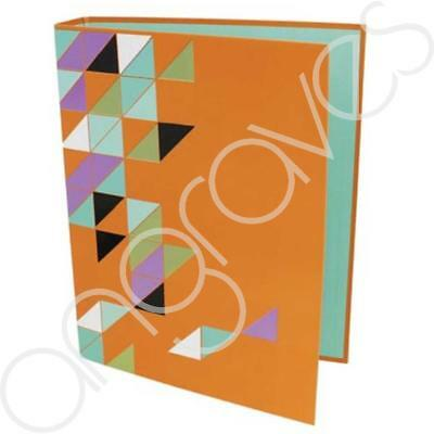 Neon Orange Geometric A4 Ring Binder Folder School Office Document Paper Holder