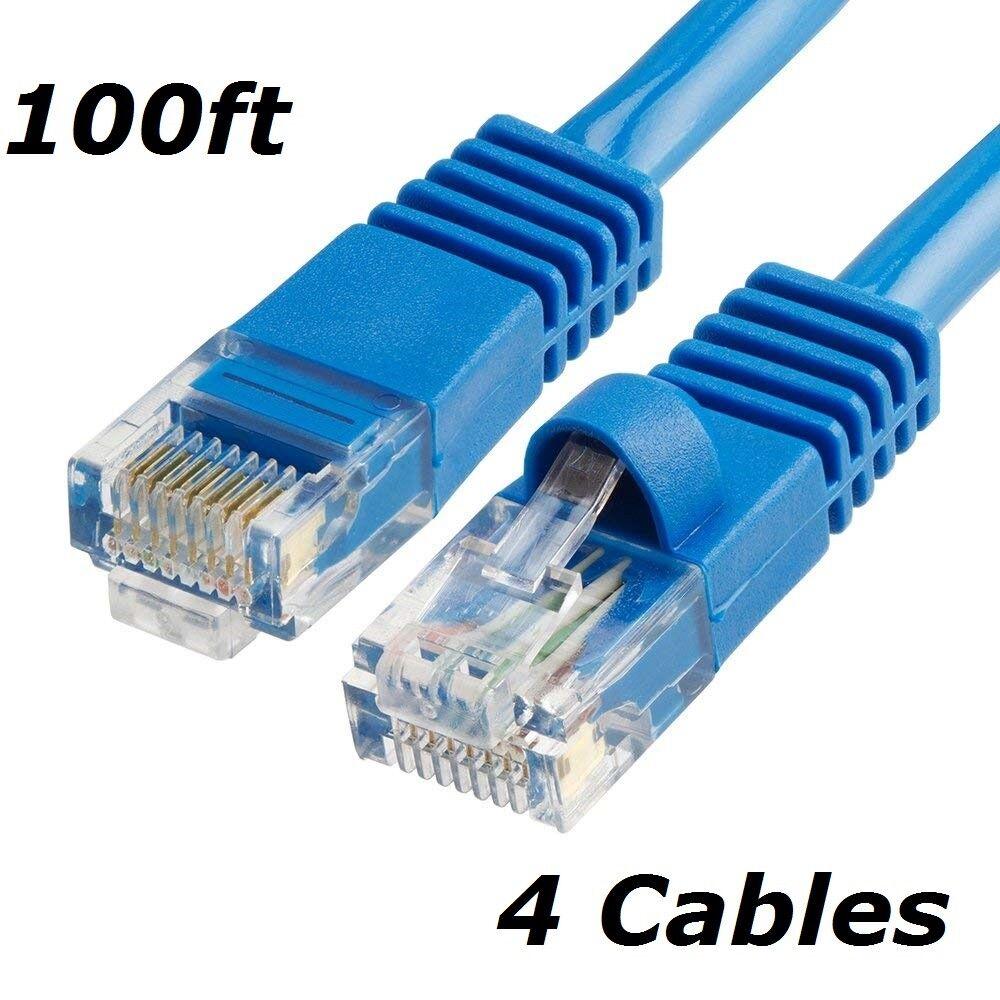 4x 100FT CAT5 CAT5E BLUE ETHERNET LAN NETWORK CABLE RJ45 Patch Network Blue US Computer Cables & Connectors