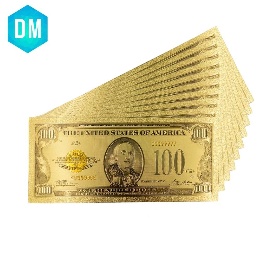 5pcs 1863 Year 100 Dollar 24k Gold Banknote Colorful World Paper Money Gifts