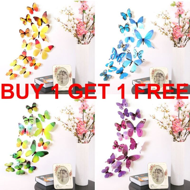 Home Decoration - 12Pcs 3D Butterfly Wall Stickers Art Decal Home Room Romantic Love Decoration UK