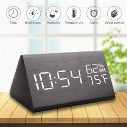 Alarm Clock Wooden Alarm Clock Large Digital Desk Voice Control Electron