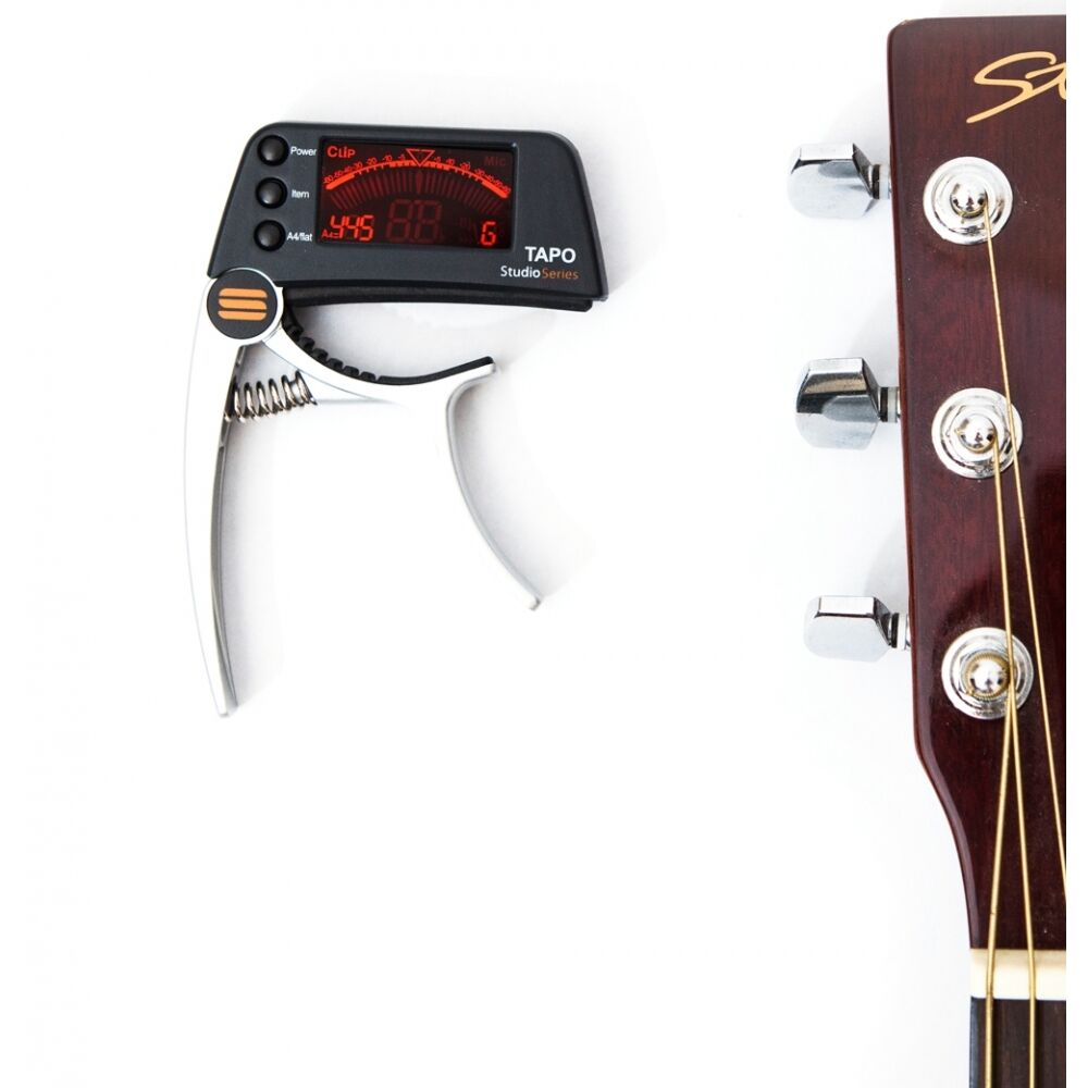 clip on guitar tuner capo chromatic acoustic or bass studio series tapo. Black Bedroom Furniture Sets. Home Design Ideas