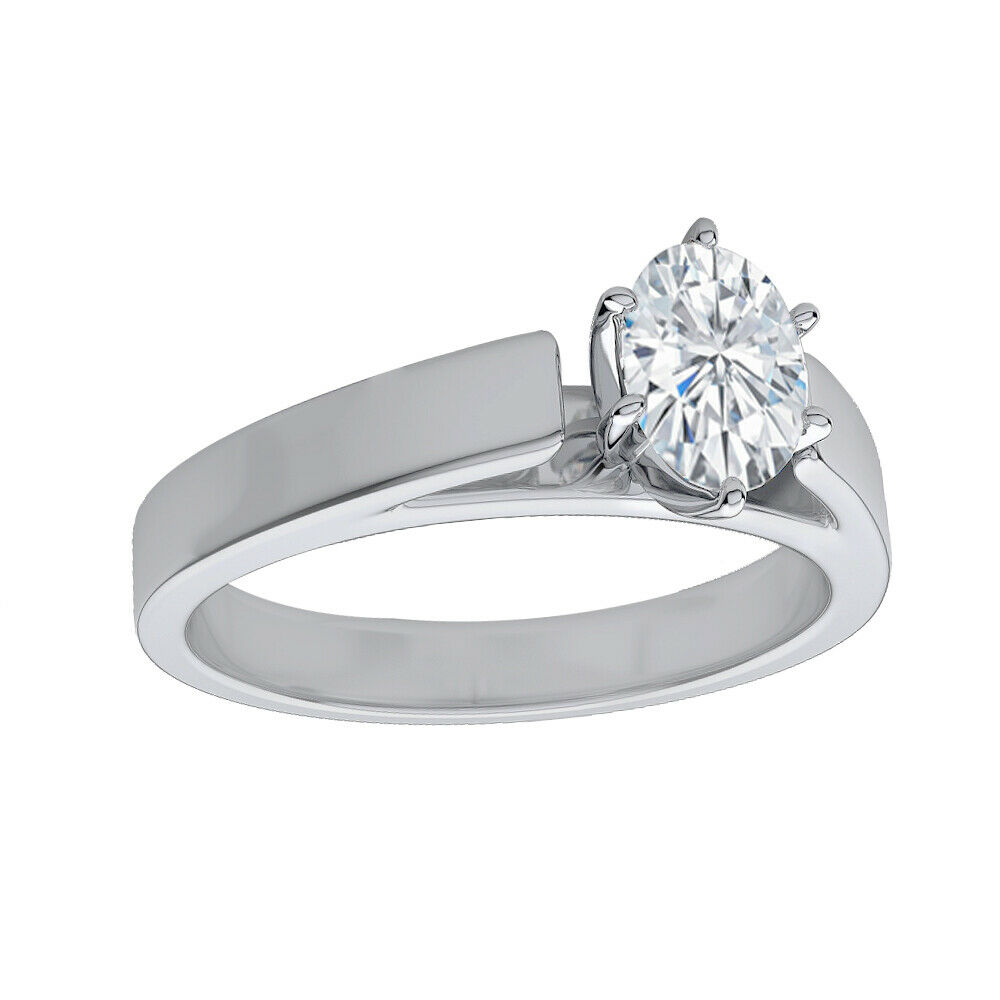 GIA Certified Diamond Engagement Solitaire Ring 0.70 CTW Oval Cut 18k White Gold