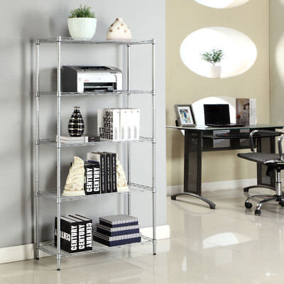5 Tier Wire Metal Shelving Storage Rack Kitchen Shelf Unit Home Garage Organizer