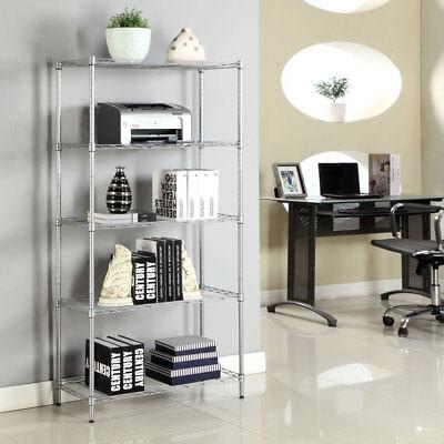 5 Tier Wire Metal Shelving Storage Rack Kitchen Shelf Unit Home Garage Organizer (Home Storage Shelving)