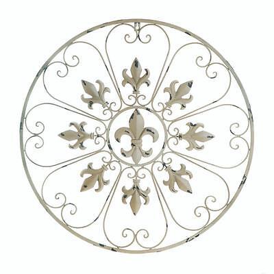shabby white French Fleur De Lis wall art hanging medallion outdoor trellis - Fleur De Lis Trellis
