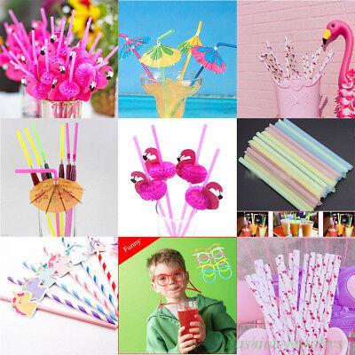 Lots Flamingo Umbrella Drink Straw Cocktail Birthday Wedding Party Favor Decor