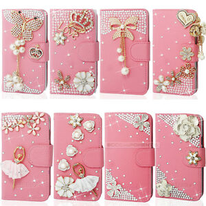 Pink-Bling-Diamond-Flip-Wallet-Leather-Phone-Case-For-iphone-Samsung-LG-HTC-Etc