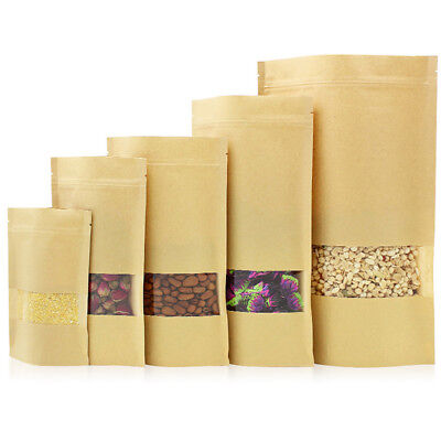 Kraft Paper Stand Up Food Gift Bags Ziplock Pouch With Clear Window Resealable