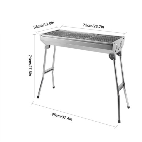 BBQ Edelstahl Holzkohlegrill Tragbar Standgrill Klappgrill Outdoor Camping Grill