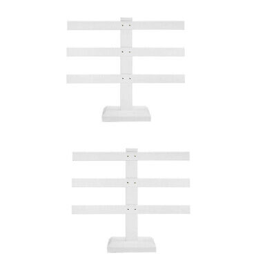 2 Pc 10 X 9 White Faux Leather 3 Bars Earring Stand Display Jewelry Showcase