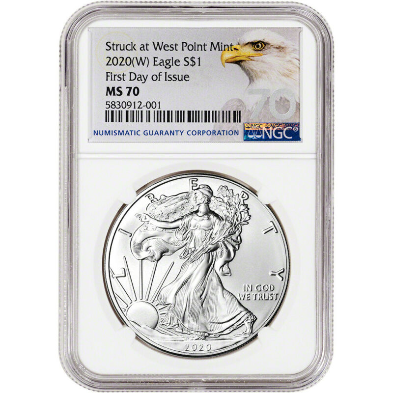 2020-(W) American Silver Eagle - NGC MS70 - First Day of Issue - Grade 70