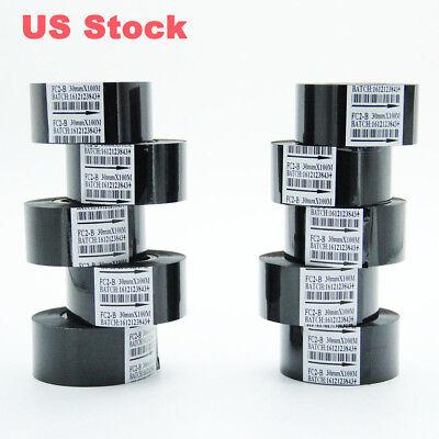 10 Rolls Black Hot Stamp Ribbon Fc2b 30mm X 100m For Coder Printer Machine