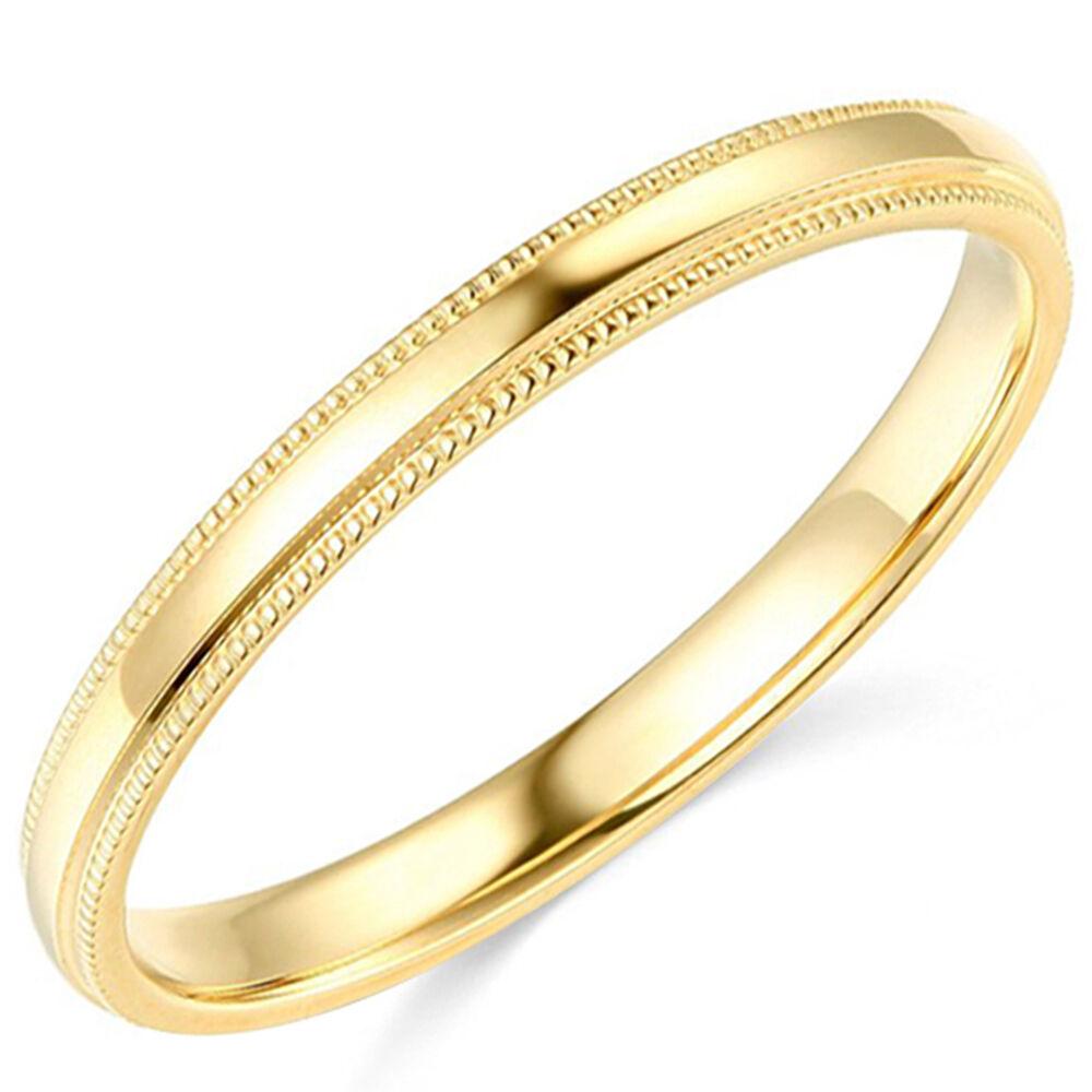 10K Yellow Gold 2mm 3mm 4mm 5mm 6mm Comfort Fit Men Women Milgrain Wedding Band 1
