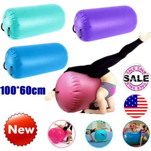 Home U Air Roll Aufblasbare Luft Rollen Yoga Gymnastik Zylinder Gym Air Barrel mit Pumpe 120x75cm, Gr/ün