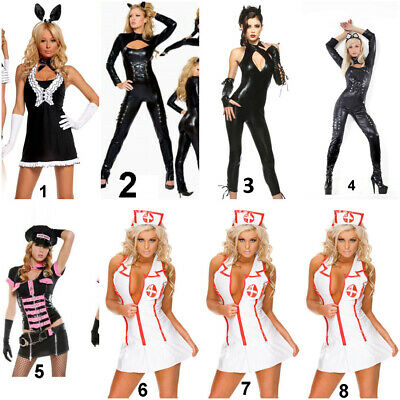 Hot Catwoman Costume (Hot Sexy Womans Fancy Dress  Bunny girl Cat woman Cop & Nurse outfit Hen)