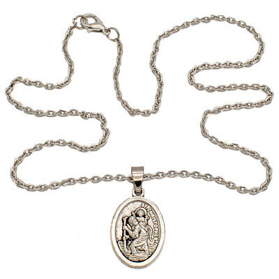 """Saint St Christopher Protect Us Oval Silver Medal Pendant Necklace 18"""" Chain"""