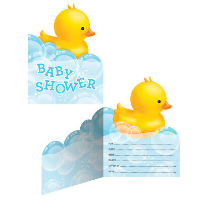 8 x Rubber Duck Baby Shower Party Invitations With Envelopes Invites Supplies](Rubber Duck Invitations)