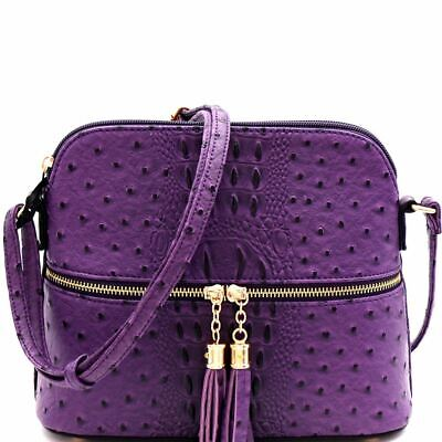 Ostrich Embossed Front Pocket Tassel Accent Cross Body Bag