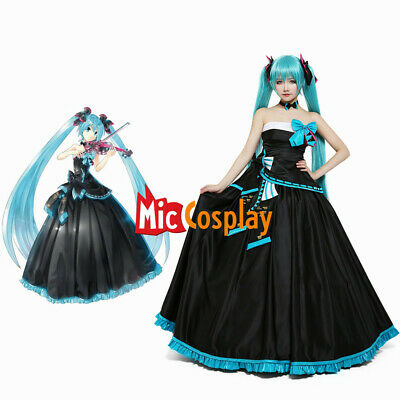 Hatsune Miku Cosplay Costume Formal Women Black Long Dress Vocaloid Halloween - Miku Halloween Cosplay