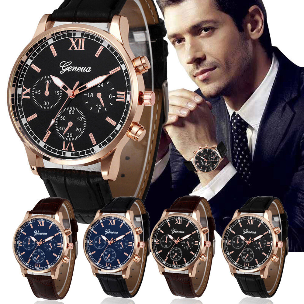 Gentlemen's Design Leather Band Analog Alloy Quartz Retro Wrist Watch