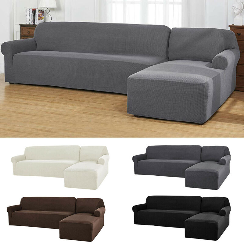 Details About L Shape Stretch Fabric Sofa Cover Protect Elastic Slipcover Sectional Couch New