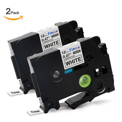 2pk P-touch Label Tape Compatible For Brother P-touch Tz Tze231 Tape 12mm White