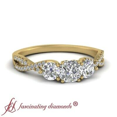 1 Carat Cushion Cut Diamond Trellis 3 Stone Engagement Ring In 18K Yellow Gold 1