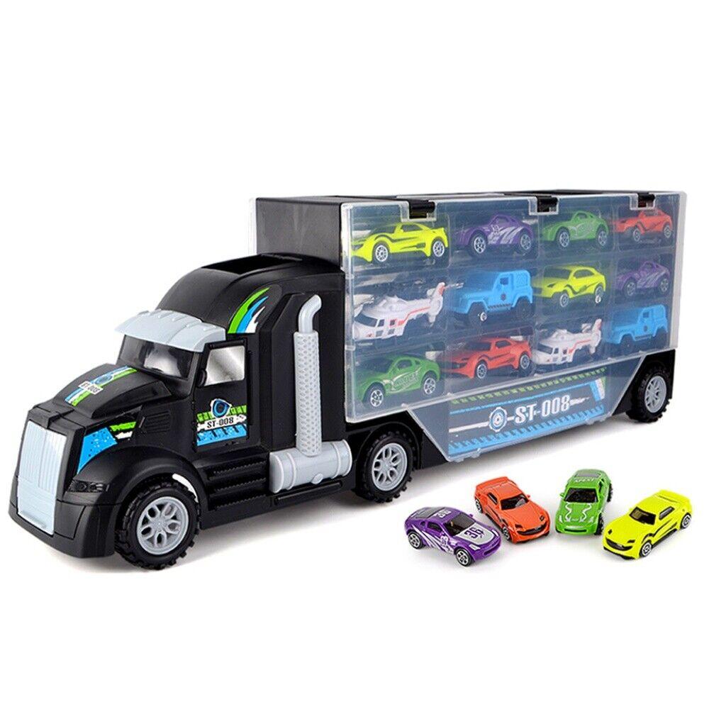 12 Rennautos LKW Launcher Kinder Spielzeugauto Transporter Rennwagen Spielzeug