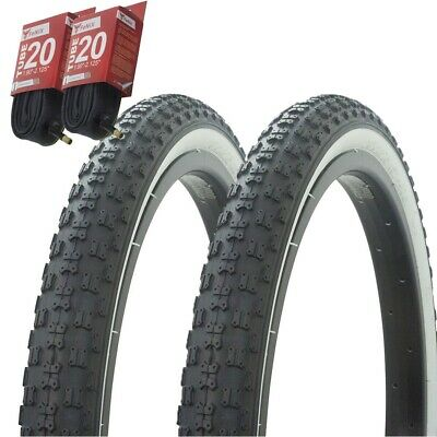 "PAIR Duro Bicycle Bike Tires /& Tubes 20/"" x 2.125/"" White Wall BMX COMP3 Style"