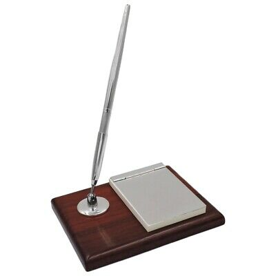 Block Notes Desk Set With Pen Holder And Pen In 925 Silver And Cherry Wood